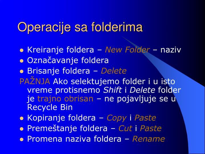 Operacije sa folderima