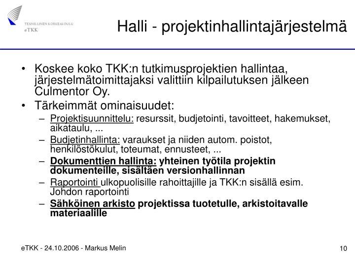 Halli - projektinhallintajärjestelmä