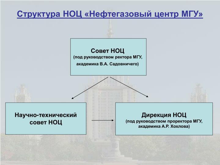 Структура НОЦ «Нефтегазовый центр МГУ»