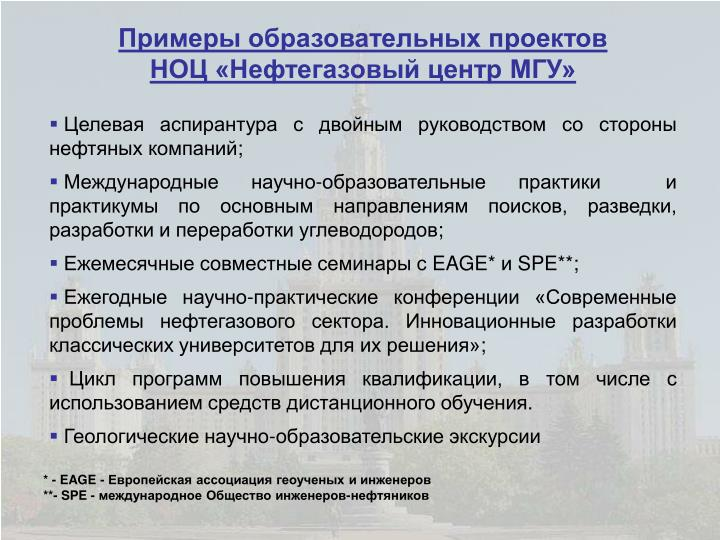 Примеры образовательных проектов