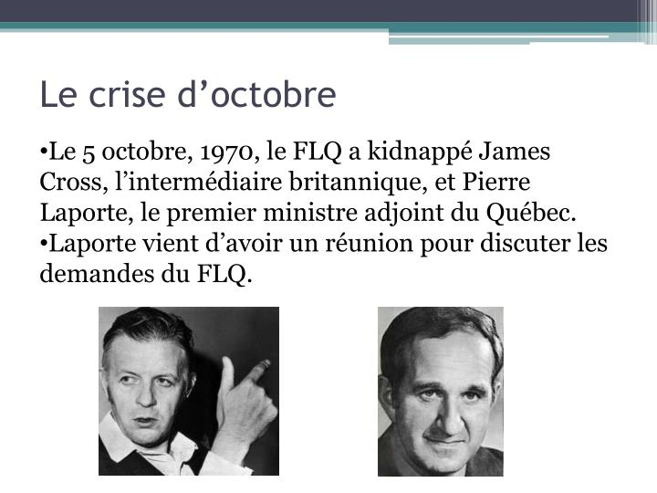 Le crise d'octobre