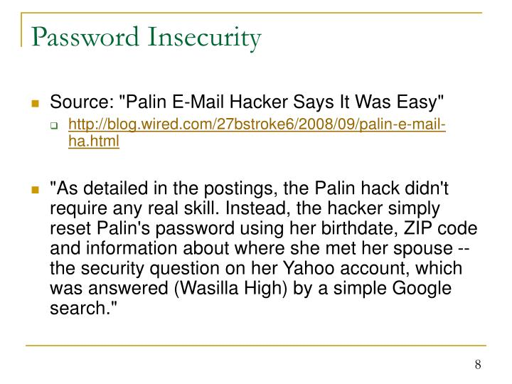 Password Insecurity