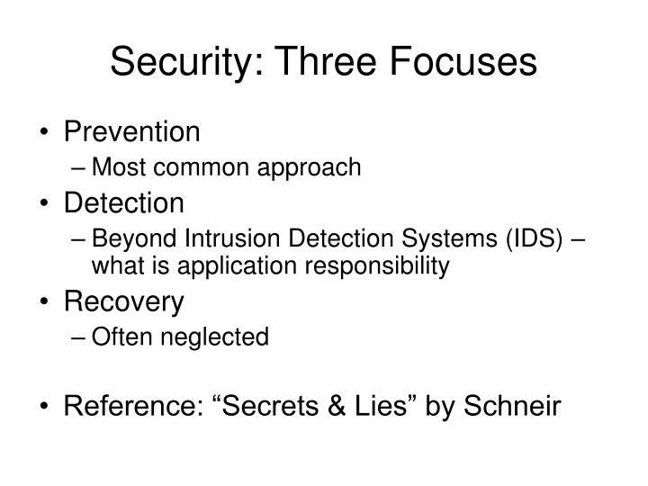 Security three focuses