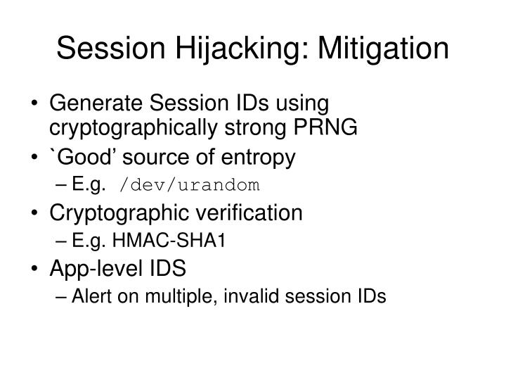 Session Hijacking: Mitigation