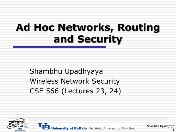 Ad hoc networks routing and security