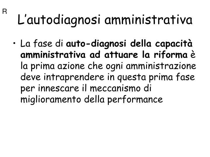 L'autodiagnosi amministrativa