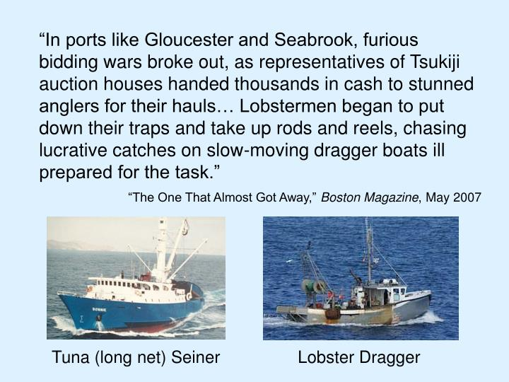 """In ports like Gloucester and Seabrook, furious bidding wars broke out, as representatives of Tsukiji auction houses handed thousands in cash to stunned anglers for their hauls… Lobstermen began to put down their traps and take up rods and reels, chasing lucrative catches on slow-moving dragger boats ill prepared for the task."""