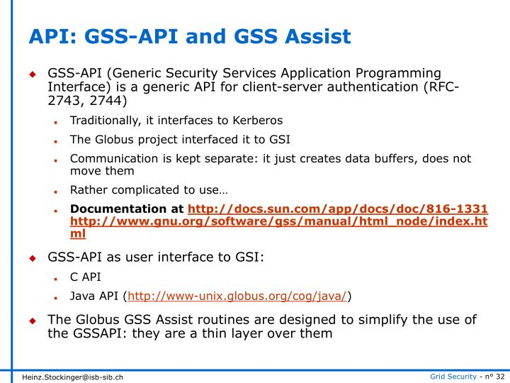 API: GSS-API and GSS Assist