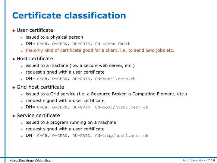 Certificate classification