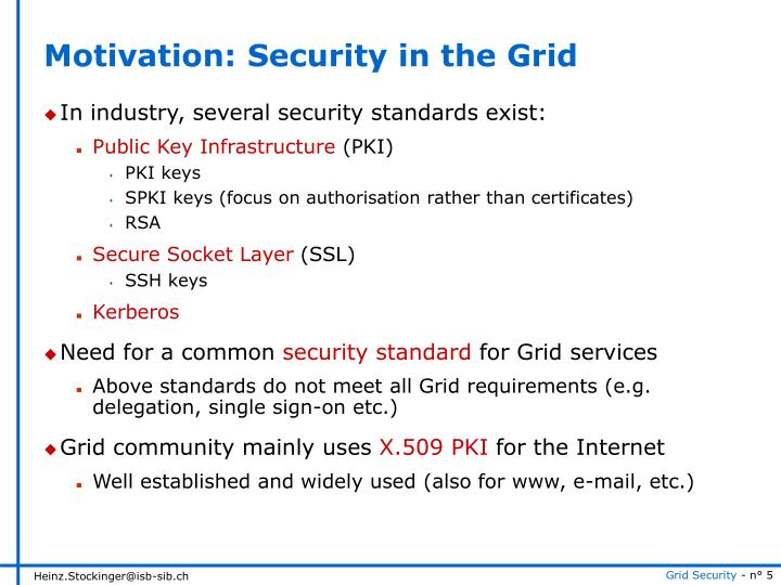 Motivation: Security in the Grid