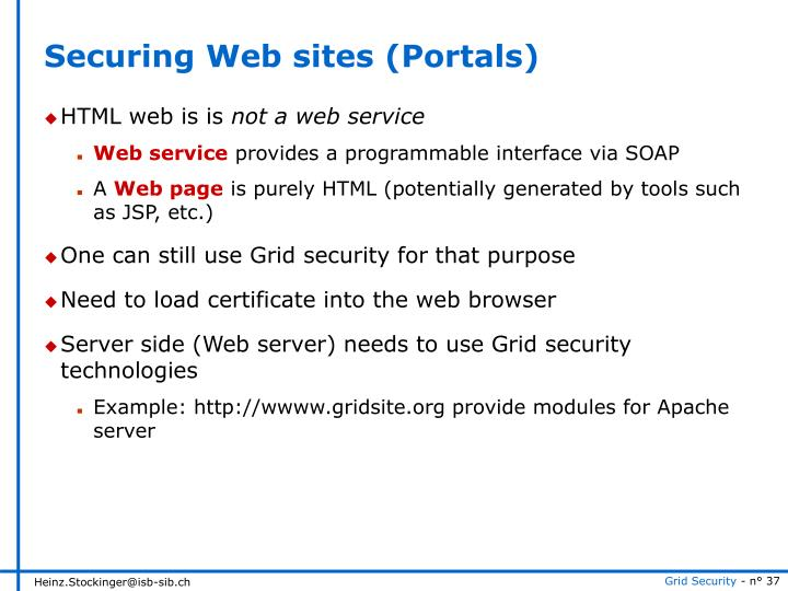 Securing Web sites (Portals)