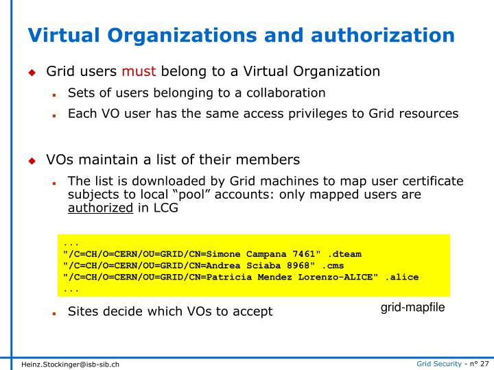 Virtual Organizations and authorization