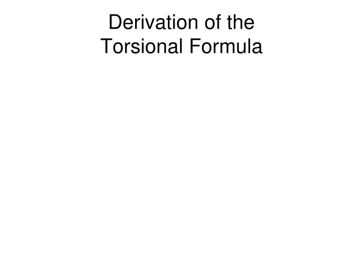 Derivation of the