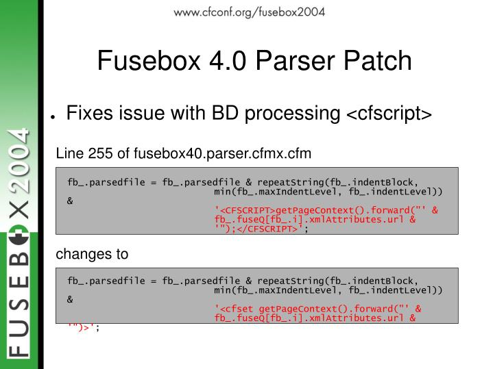 Fusebox 4.0 Parser Patch