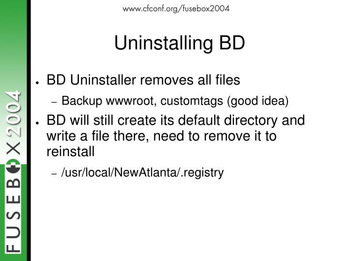 Uninstalling BD