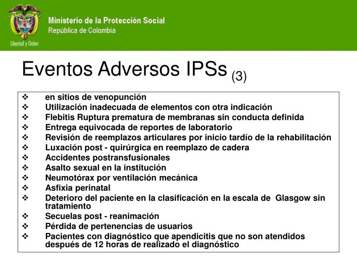 Eventos Adversos IPSs