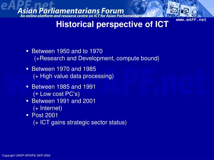 Historical perspective of ict