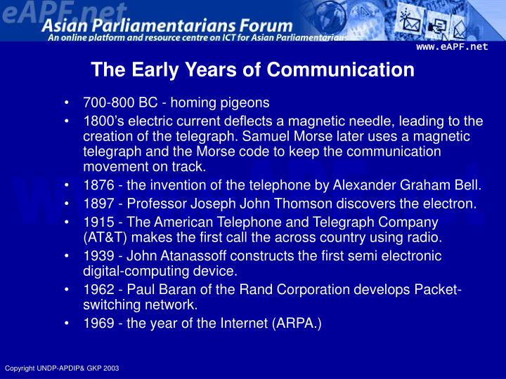 The early years of communication
