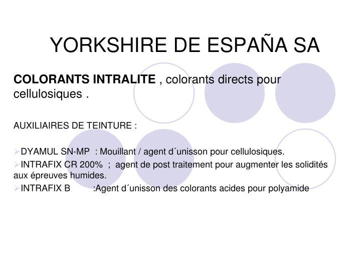 YORKSHIRE DE ESPAÑA SA
