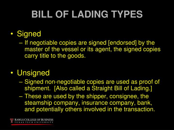 BILL OF LADING TYPES