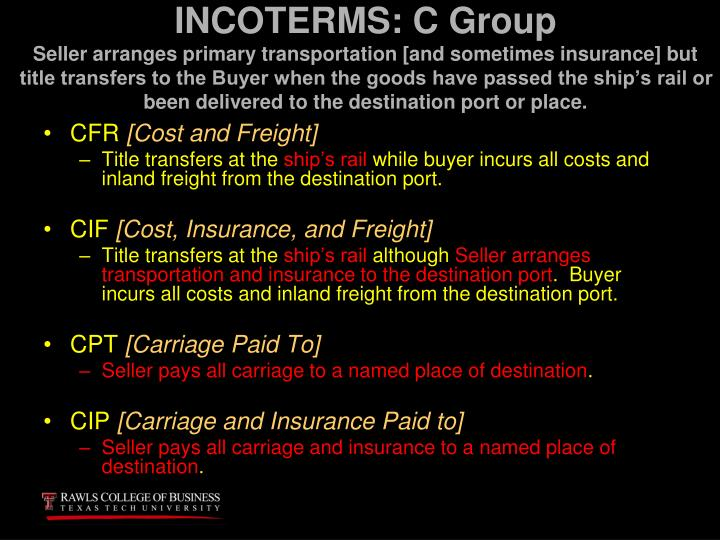 INCOTERMS: C Group
