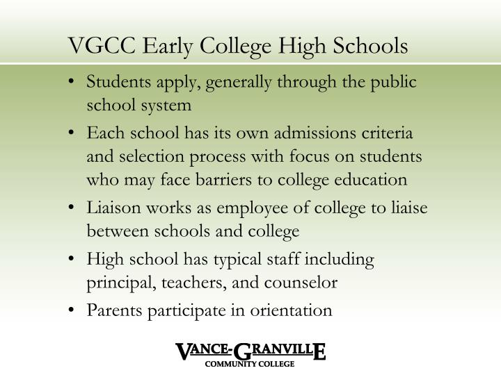 VGCC Early College High Schools