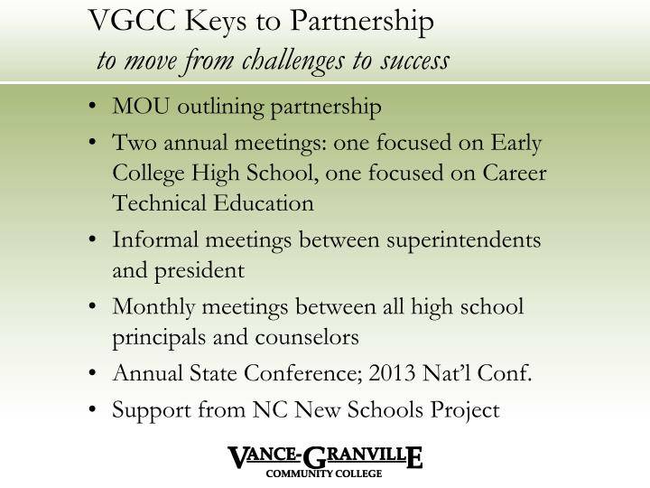 VGCC Keys to Partnership