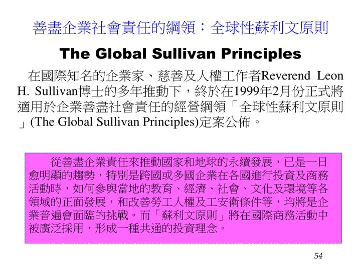 善盡企業社會責任的綱領:全球性蘇利文原則