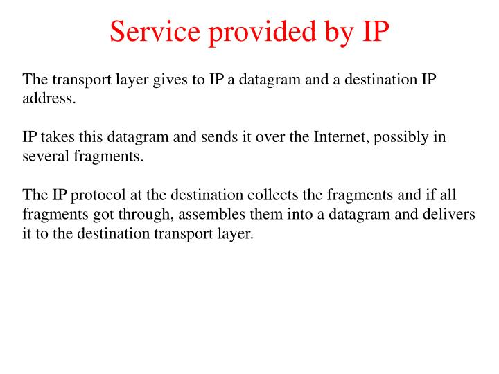 Service provided by IP