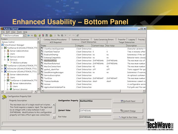 Enhanced Usability – Bottom Panel