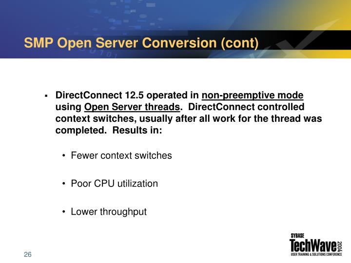 SMP Open Server Conversion (cont)