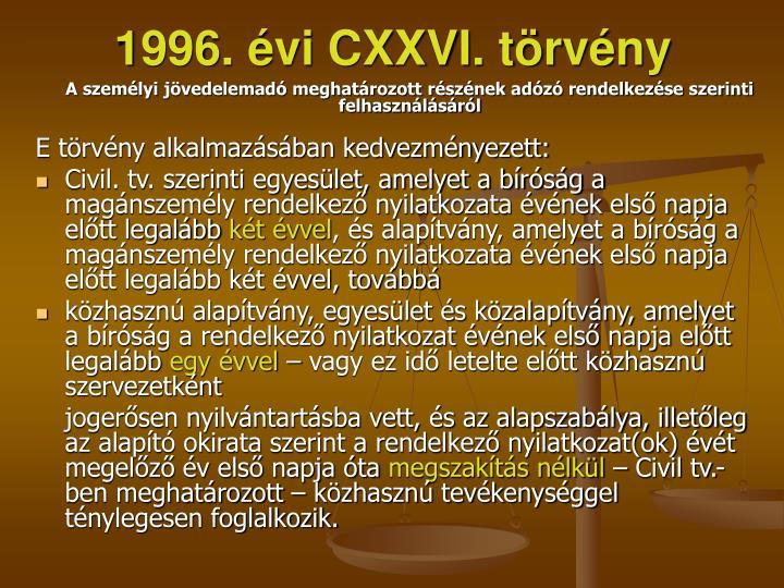 1996. évi CXXVI. törvény
