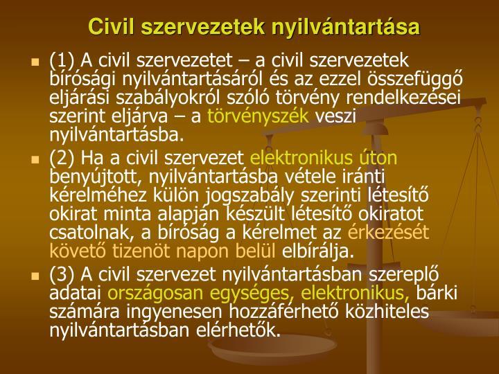 Civil szervezetek nyilvántartása