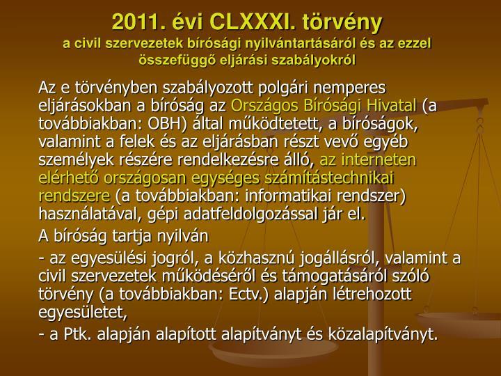 2011. évi CLXXXI. törvény