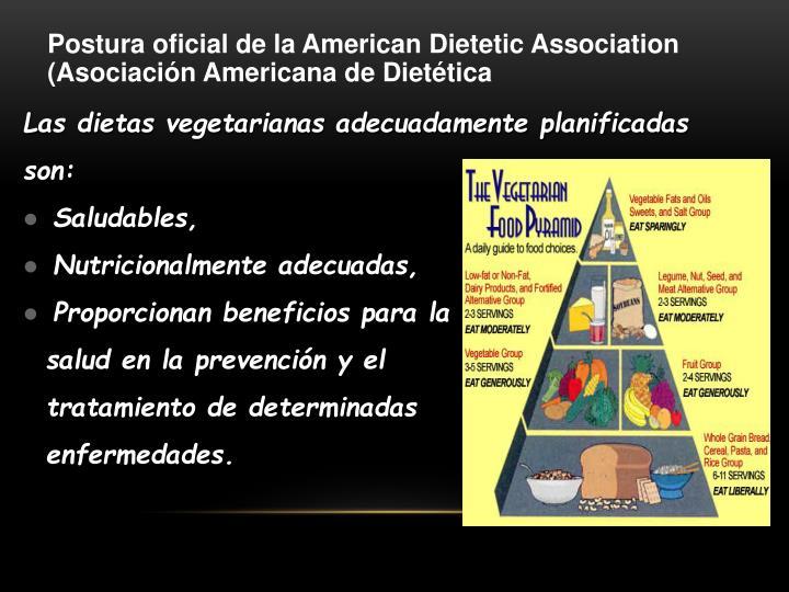 Postura oficial de la American Dietetic Association (Asociación Americana de Dietética
