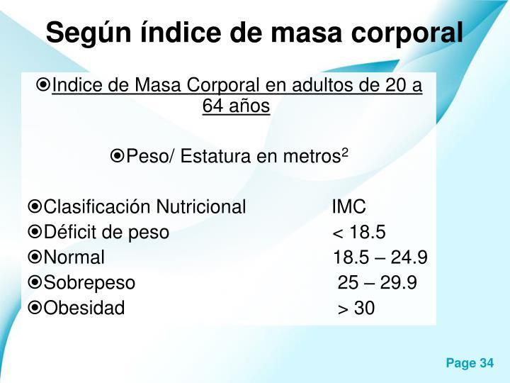 Según índice de masa corporal