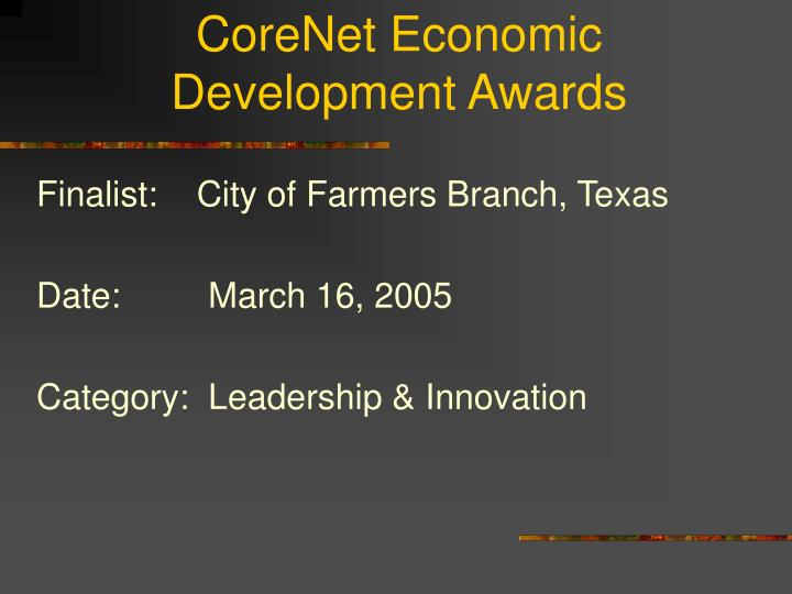 Corenet economic development awards