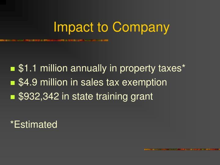 Impact to Company
