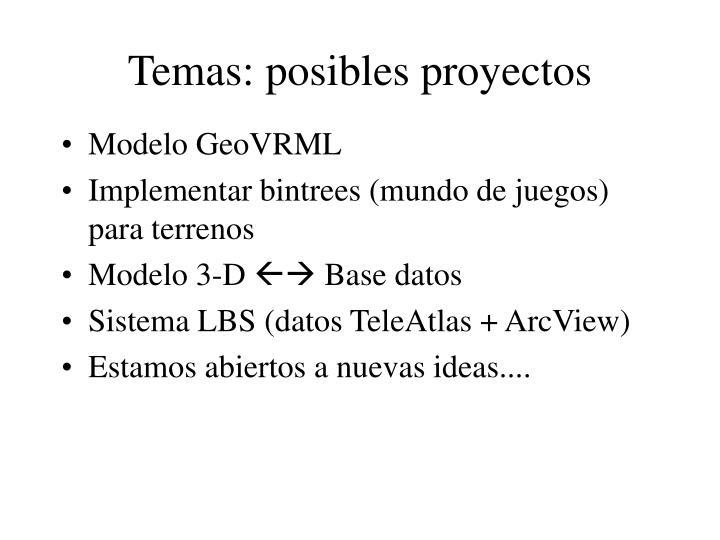 Temas: posibles proyectos