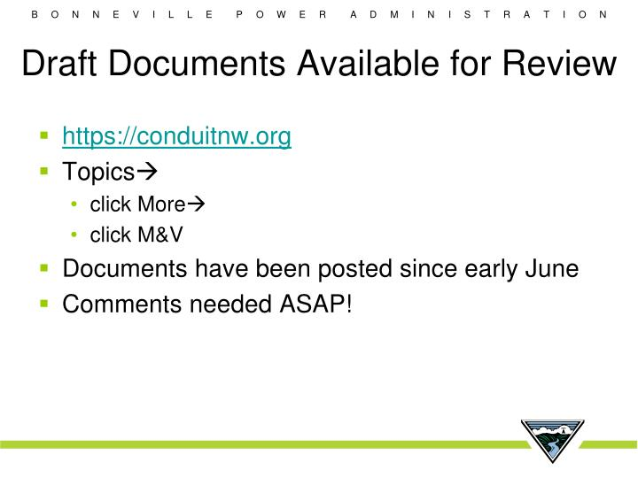 Draft Documents Available for Review