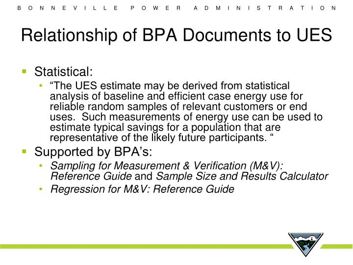 Relationship of BPA Documents to UES