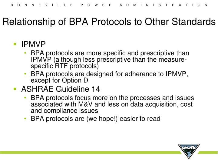 Relationship of BPA Protocols to Other Standards