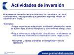 actividades de inversi n