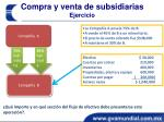 compra y venta de subsidiarias ejercicio
