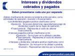 intereses y dividendos cobrados y pagados