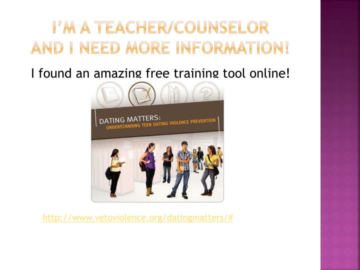 I'm a teacher/counselor