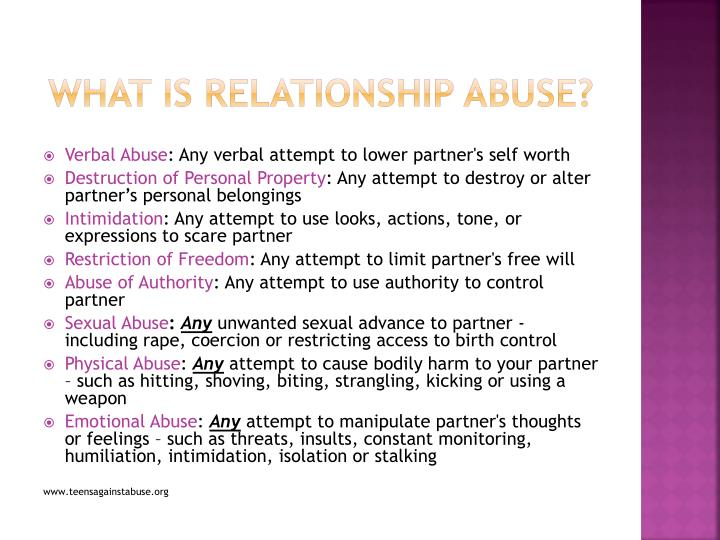 What is Relationship abuse?