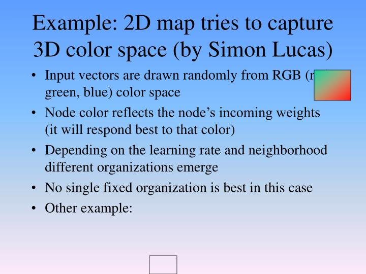 Example: 2D map tries to capture 3D color space (by