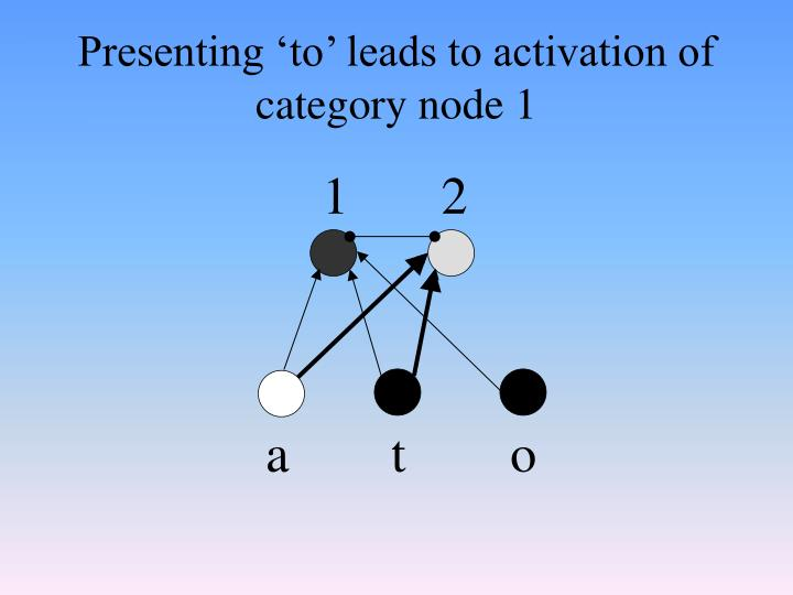 Presenting 'to' leads to activation of category node 1