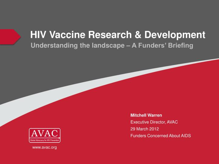 Hiv vaccine research development